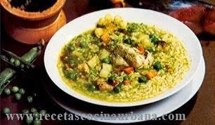 Aguadito de Pescado, cocina peruana