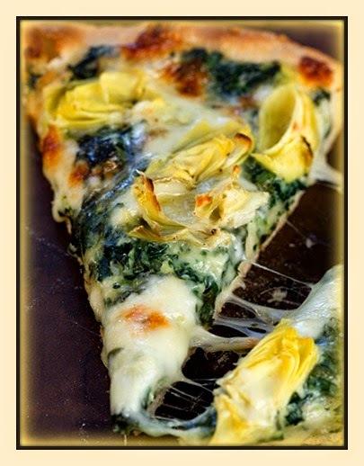 pizza de alcachofra e espinafre