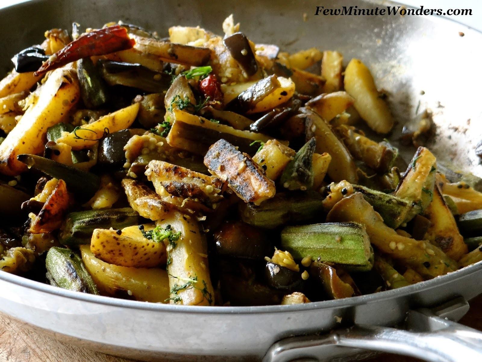 Brinjal Bhindi Potato Fry/ Eggplant Okra Potato Fry