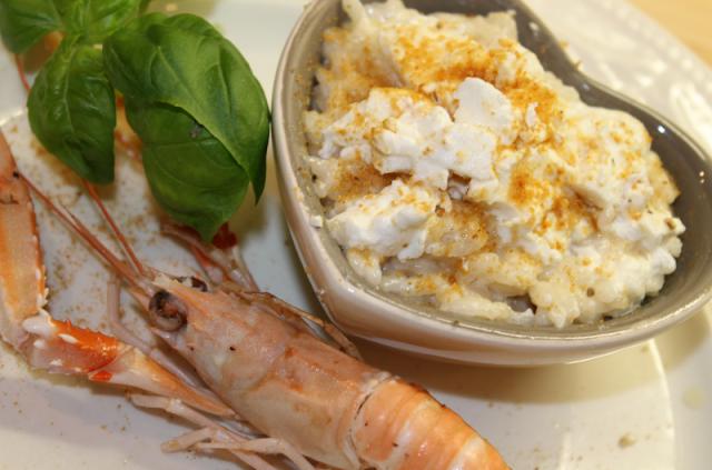 Risotto de langoustines au pain d'épice et au chèvre de Cyril Lignac