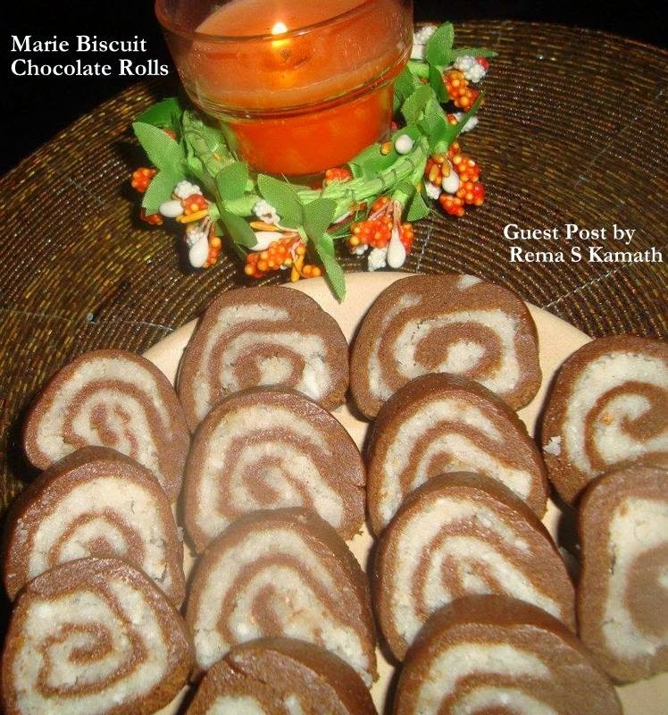 MARIE BISCUIT CHOCOLATE ROLLS: GUEST POST BY REMA SRINIVAS KAMATH