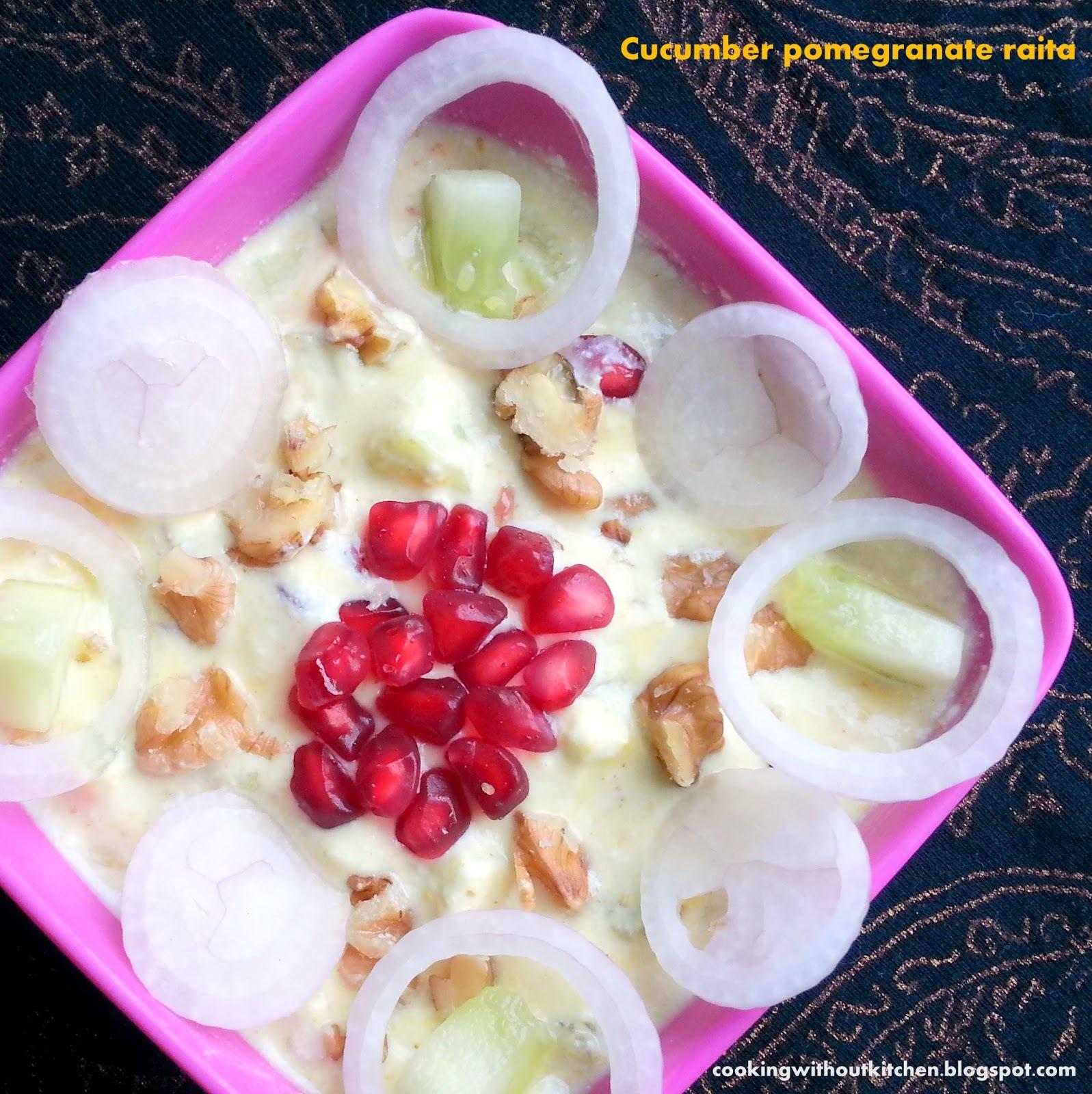 Cucumber pomegranate in yoghurt dressing (Anar aur kheere ka raita)