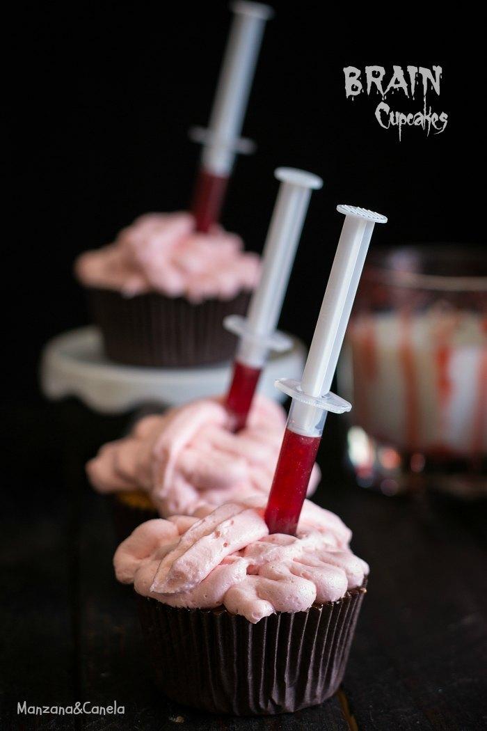 Cupcakes de cerebros para Halloween