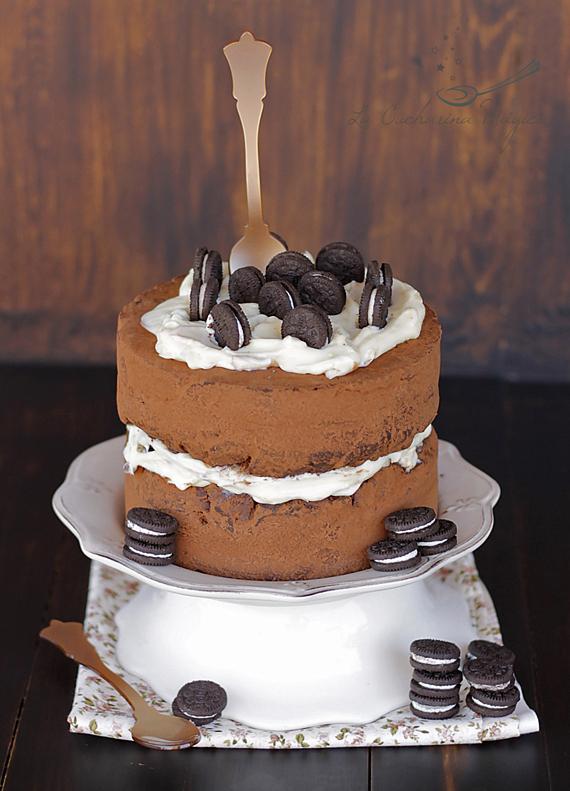 Tarta de chocolate con crema de queso y Oreo