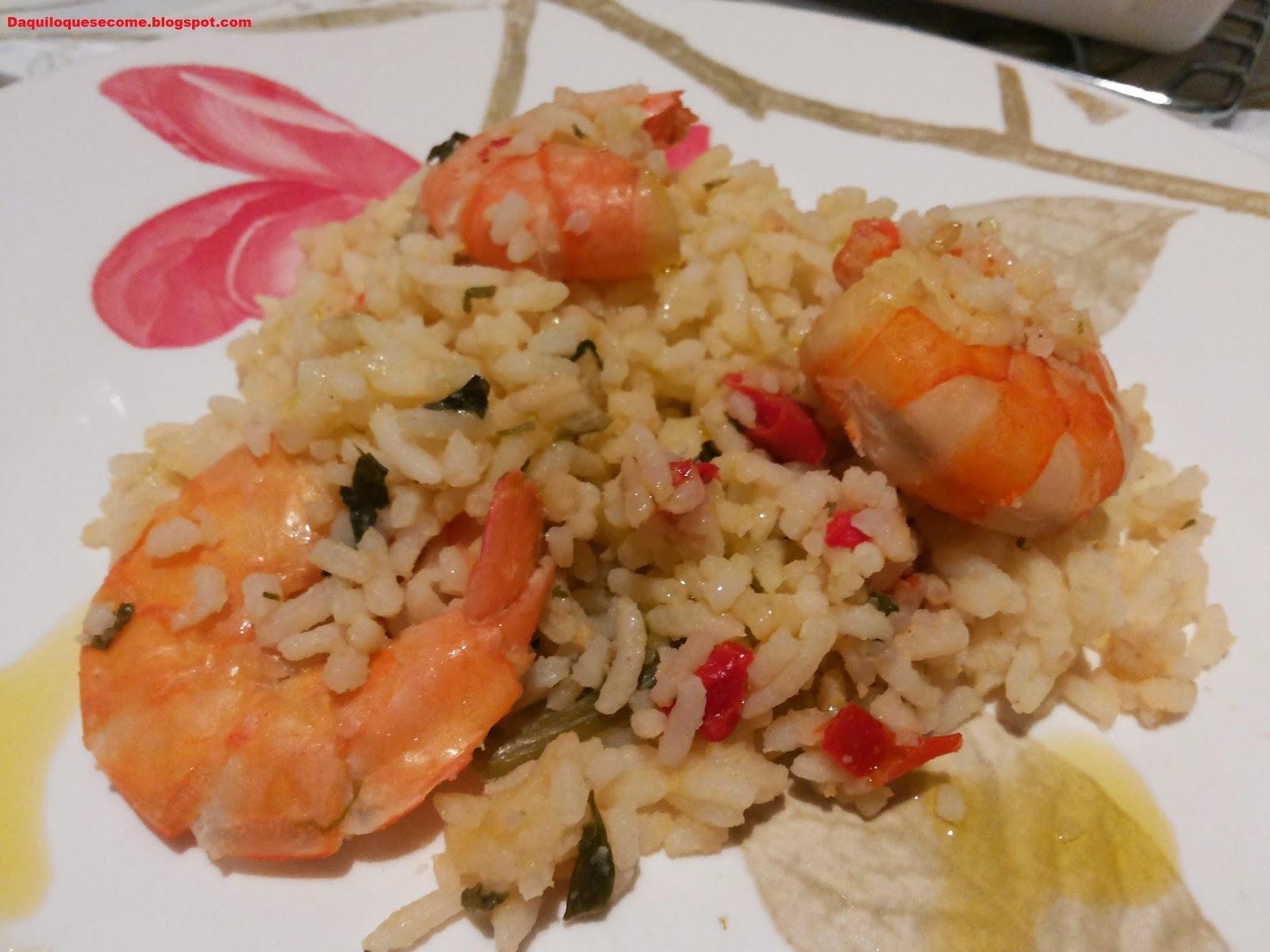 arroz paraense com camarão rosa