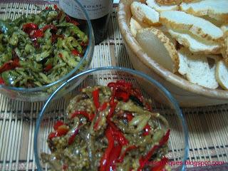 antepasto de berinjela com queijo e antepasto de abobrinha com tomate seco