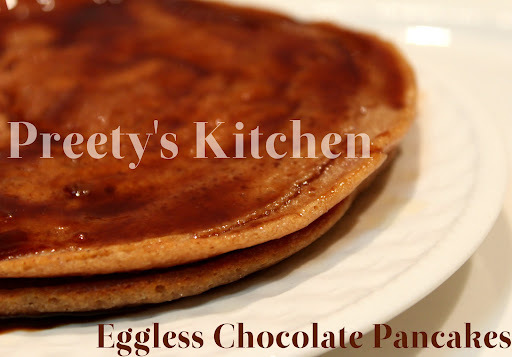 Eggless Wholewheat Chocolate Pancake