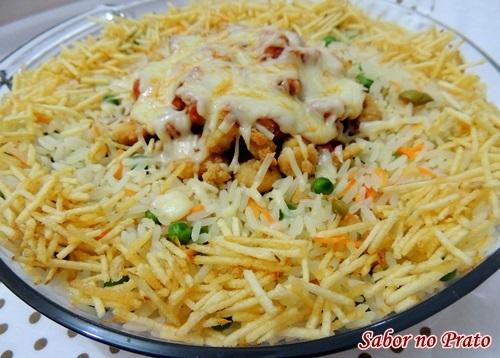 arroz a grega com camarão