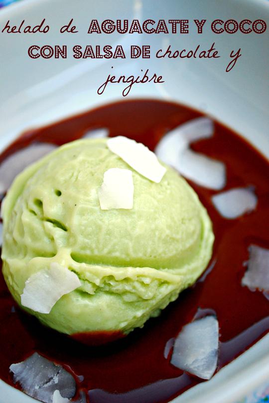 helado de aguacate y coco {con salsa de chocolate y jengibre} #repdomlove