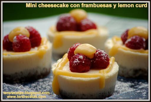 Minis cheesecakes con frambuesas y lemon curd. (Thermomix)