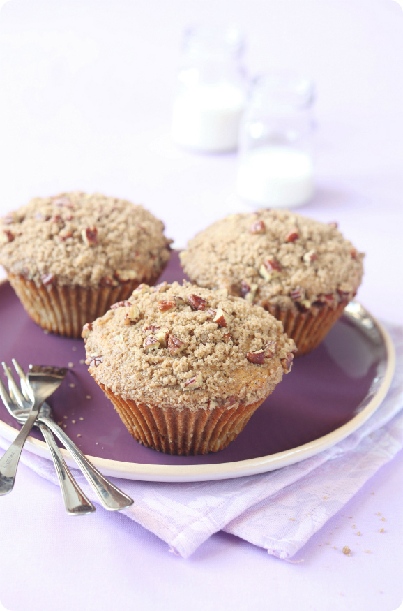 Биг-Маффины с пеканом, персиками и штрейзелем / Big-Muffins com nozes-pecã, pêssegos e streusel