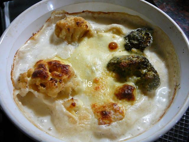 Brocoli y coliflor gratinado