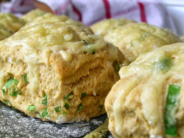 Cheese and onion corn scones
