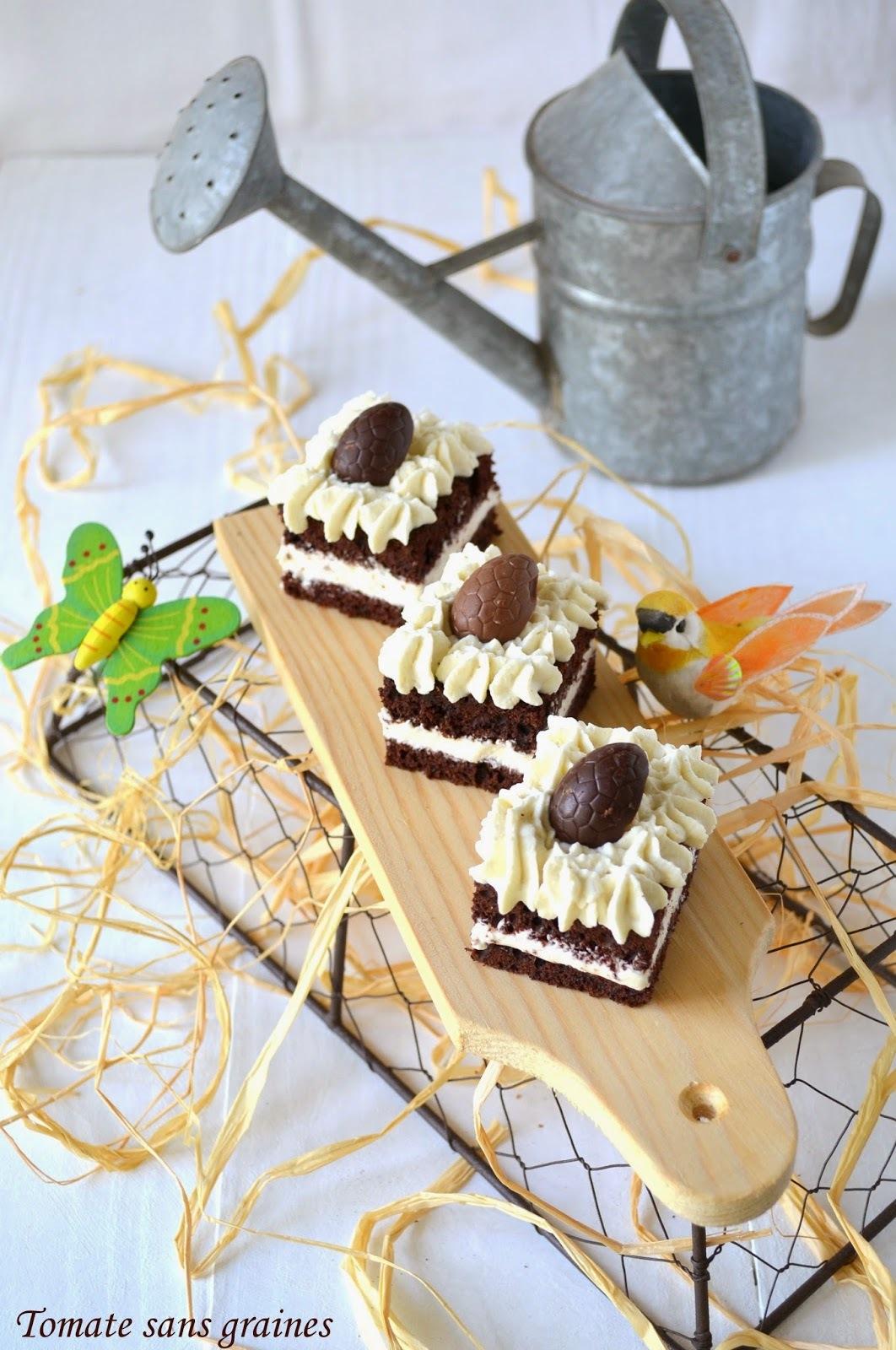 Le bicolore, ganache montée au chocolat blanc et fève tonka {Non-concours de Pâques}