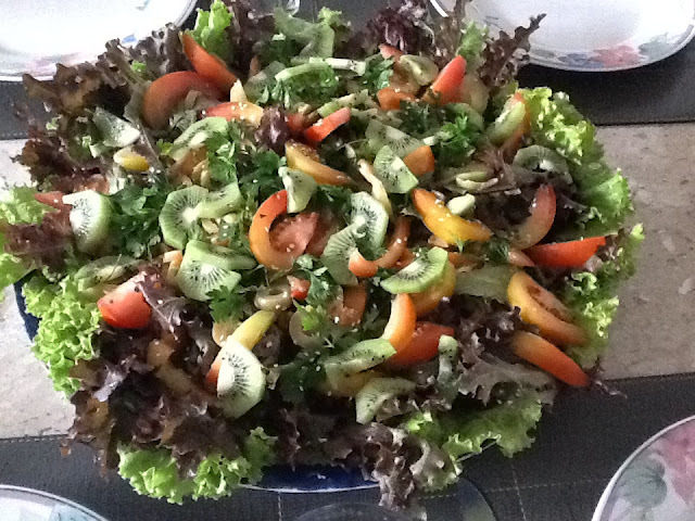 salada tropical com manga e alface