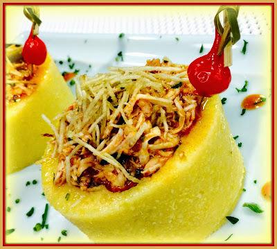Ninhos de polenta com frango - com video