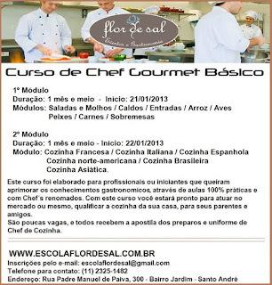 Curso Báscio de Chef Gourmet - Desconto especial