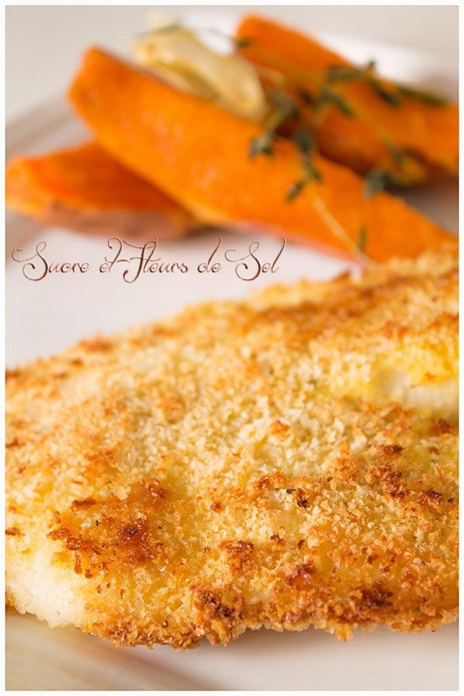 Poissons panés au four et patates douces en papillote.