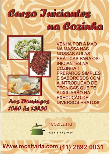 Curso Iniciantes na Cozinha em São Paulo começa 16.09.2012 com o Apoio da Revista Champagne News
