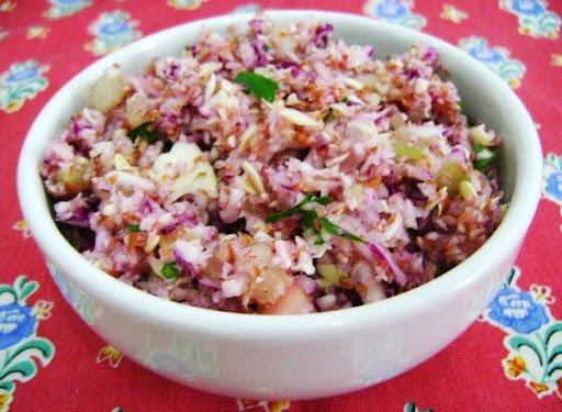 salada de repolho roxo com abacaxi maionese