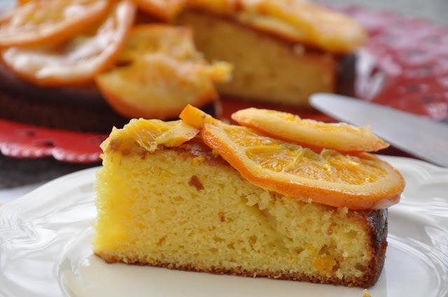 Torta de ricotta y naranjas en almíbar