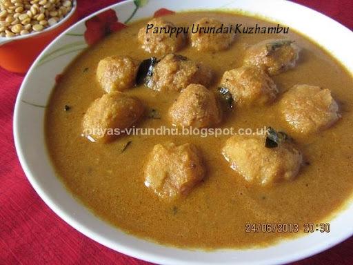 Paruppu Urundai Kuzhambu/Lentil balls Gravy