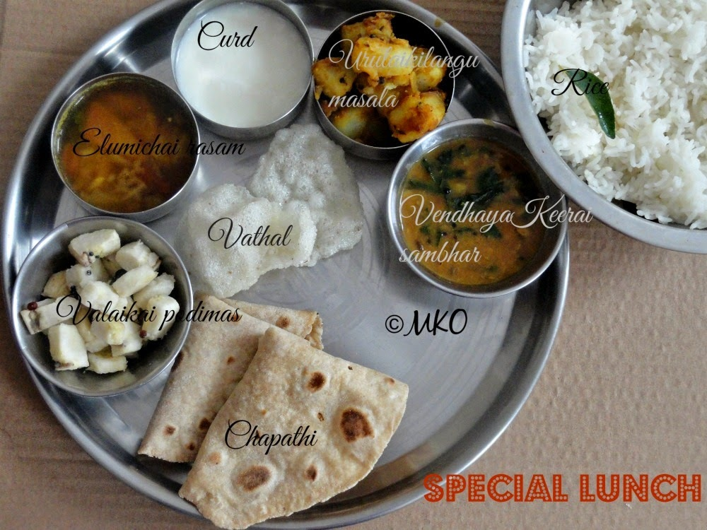 Special lunch/Puthandu special/Simple Southindian thali