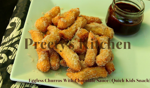 Eggless Churros With Chocolate Sauce ( Quick Kids Snack)