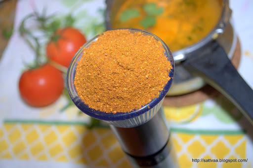 Saaru pudi(Rasam powder) and (Mysore) Saaru - quintessential South Indian broth