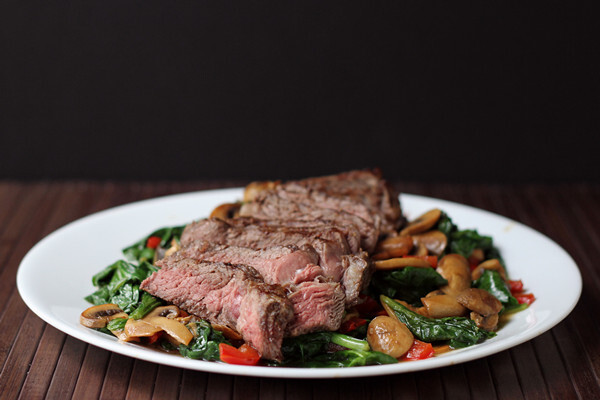 Steak and Warm Spinach Salad
