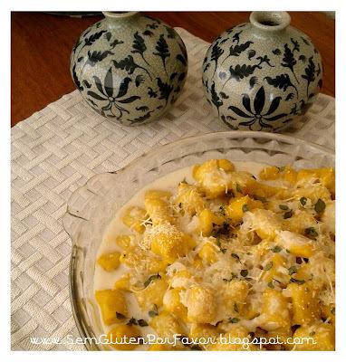 Receita de hoje: nhoque de abóbora com amaranto ao molho de leite de côco e limão siciliano