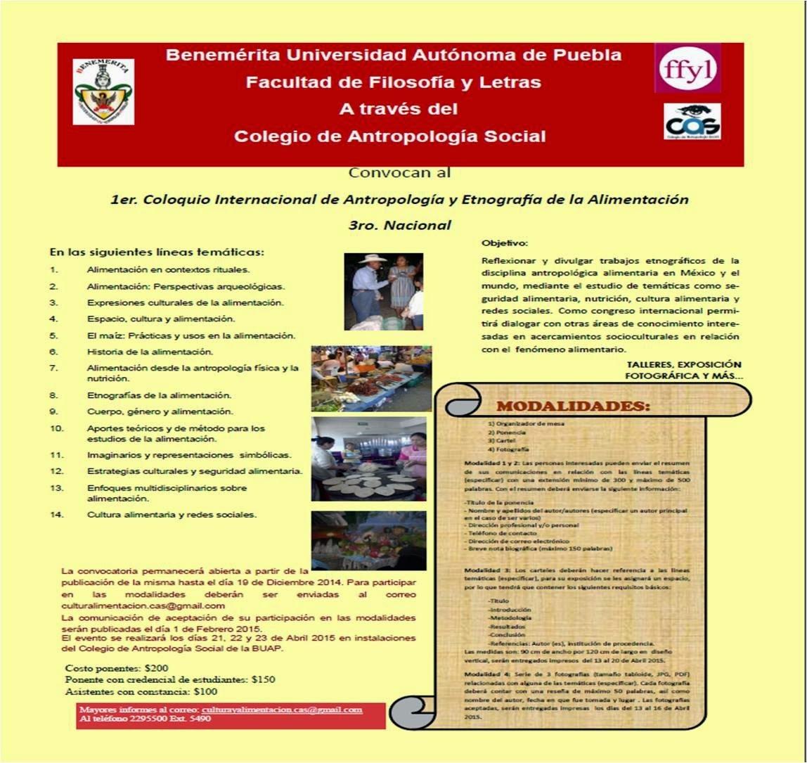 CONVOCATORIA 1er. Coloquio Internacional de Antropología y Etnografía de la Alimentación