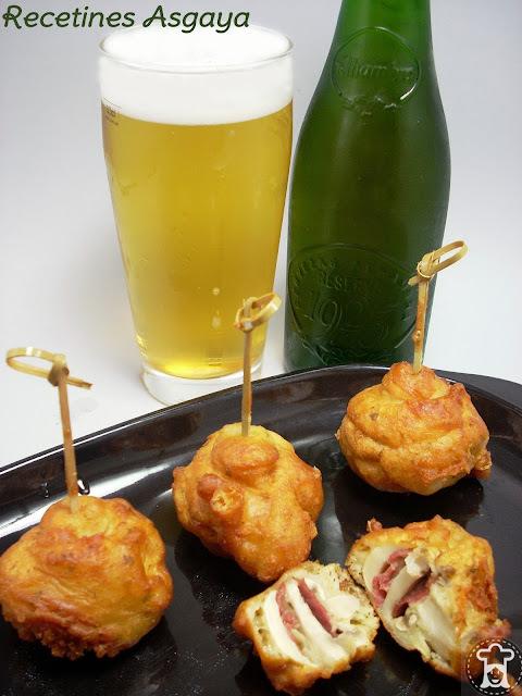 Brochetas de  Champiñones y Jamón a la Cerveza