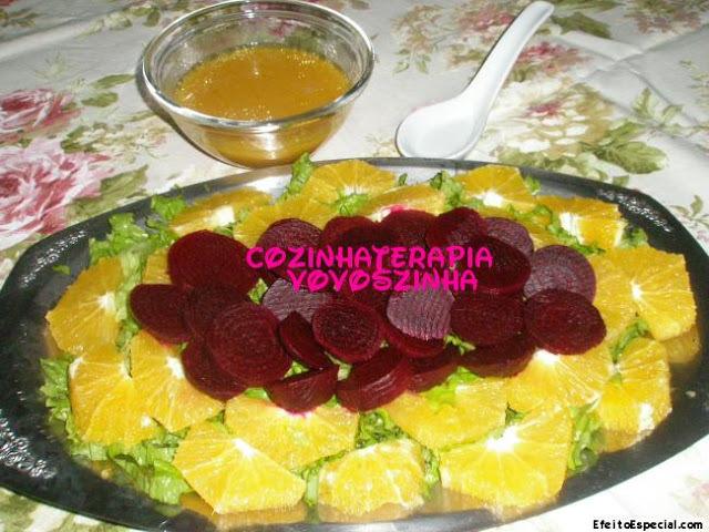 Salada de beterraba e laranja com molho de maracuja