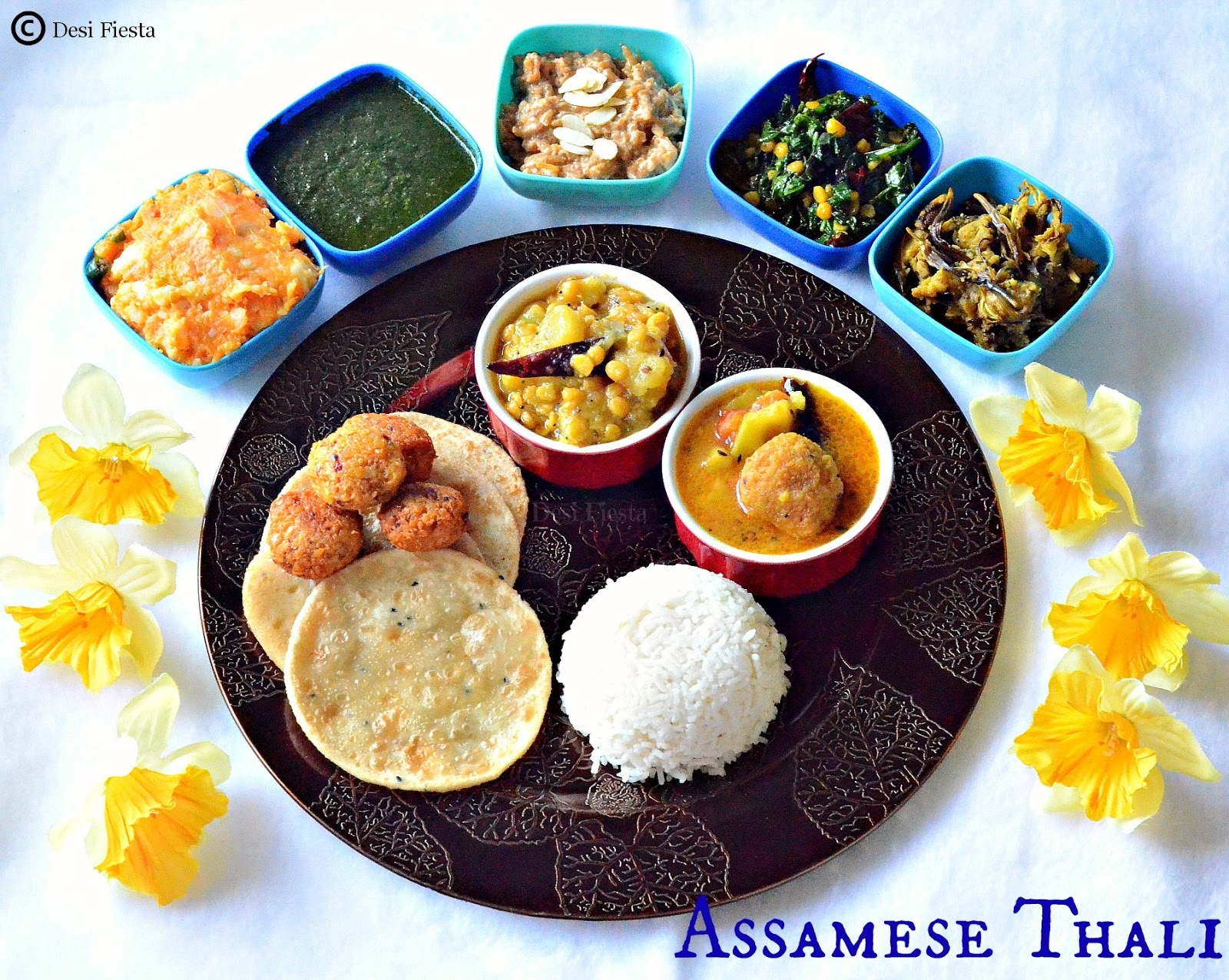 Assamese Thali / Aalohir Exaj (Assamese Platter for Guests)