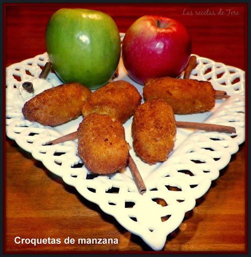 Croquetas de manzana y queso con crema pastelera.
