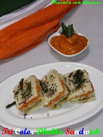 Tri-Color Dhokla Sandwich  | Independence Day Special Recipe