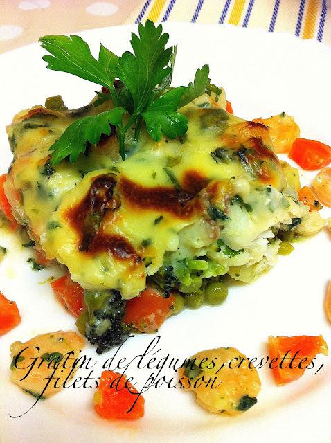 Gratin de légumes aux crevettes et filets de poisson