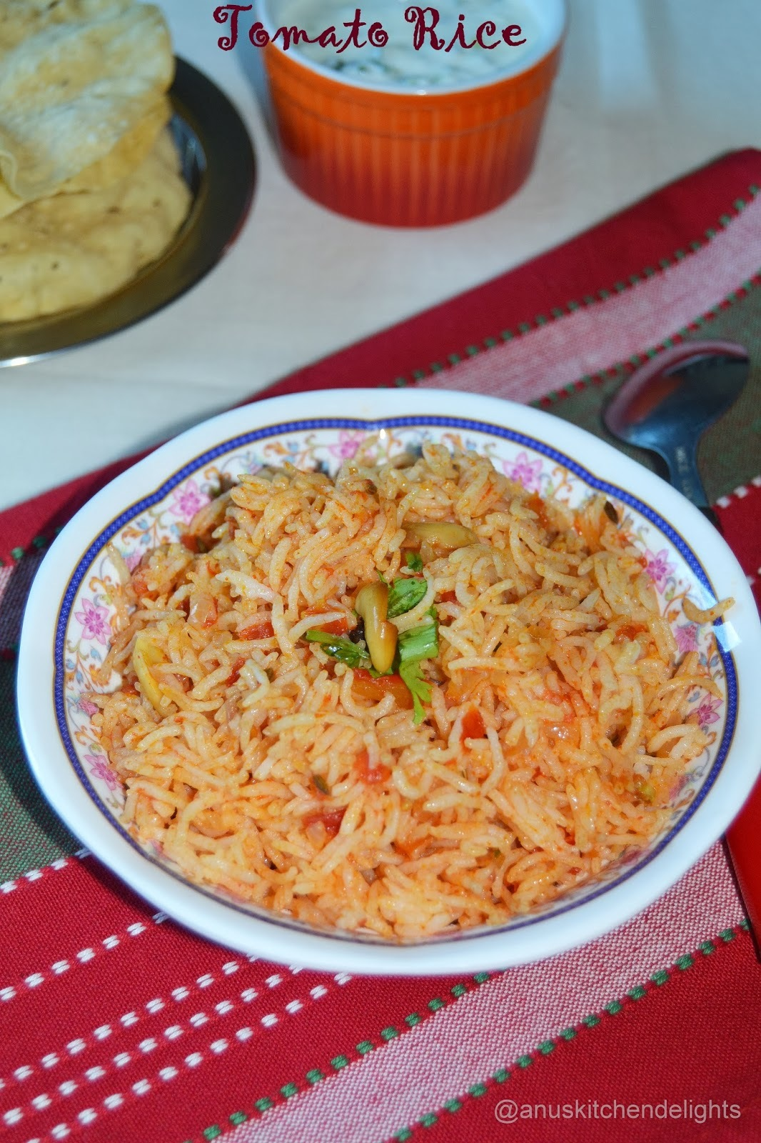 Tomato Rice / Tomato Rice with No Ginger Garlic