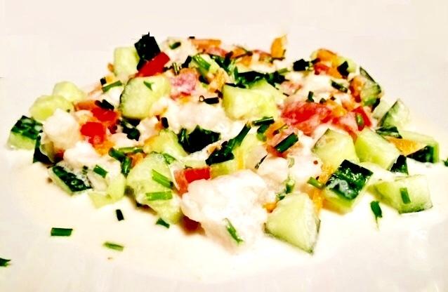 Salade Tahitienne de Poisson cru et lait de Coco