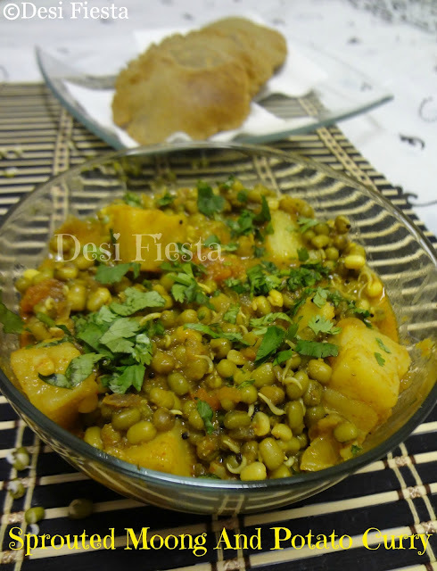 Sprouted Moong and Potato curry/ Ankurit Moong Aloo ki sabzi