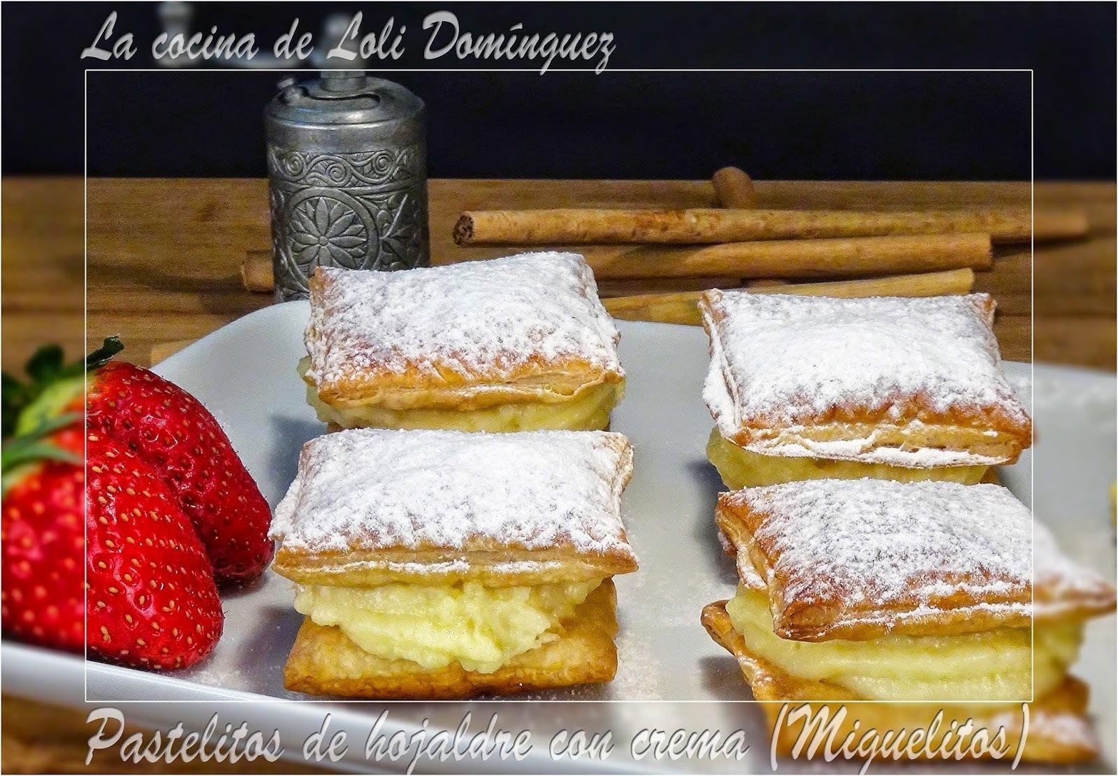 Pastelitos de hojaldre con crema (Miguelitos)