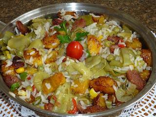 como fazer arroz com ervilha e milho verde