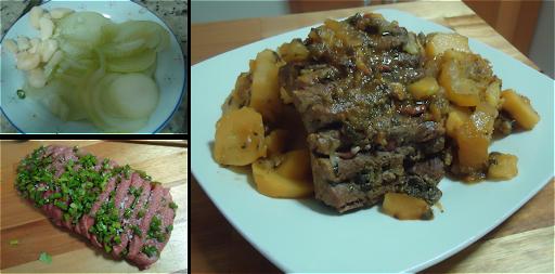 Lagarto Recheado com Linguiça acompanhado de batatas e abóbora