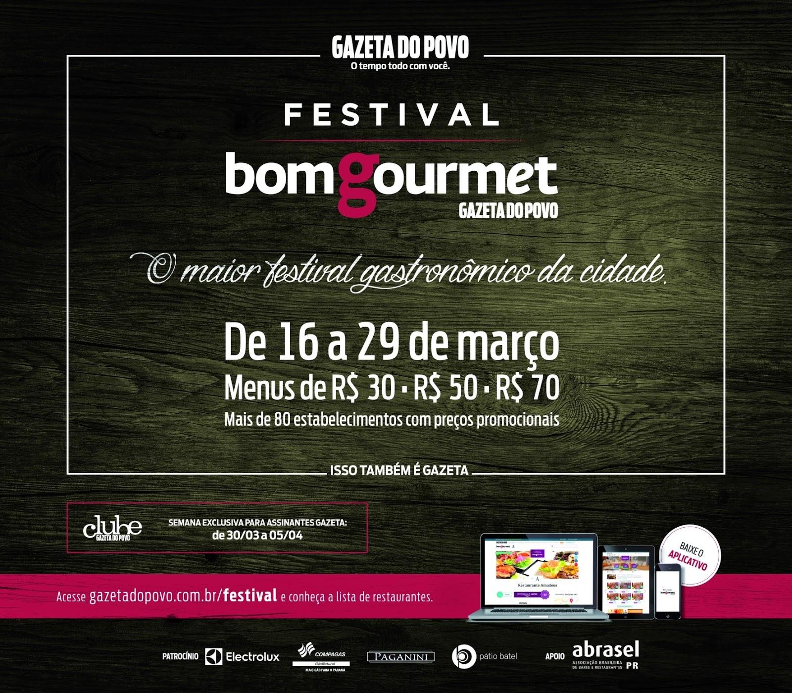 Bom Gourmet Gazeta do Povo lança festival gastronômico