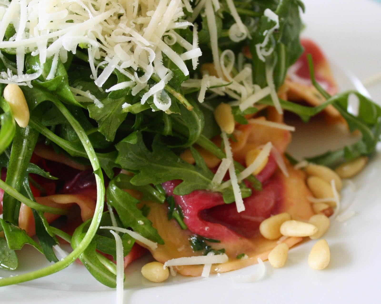 Goats Cheese & Beetroot Fiorelli With Toasted Pine Nuts & Rocket - Dell'Ugo Recipe No 11