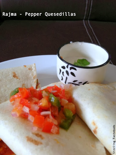 Rajma Pepper Quesdillas with Chilli Pepper Salsa & Sour cream dip | Indo-Mex Fusion Treat