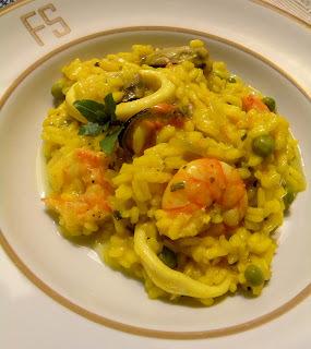 de risoto de camarão e lula cremoso