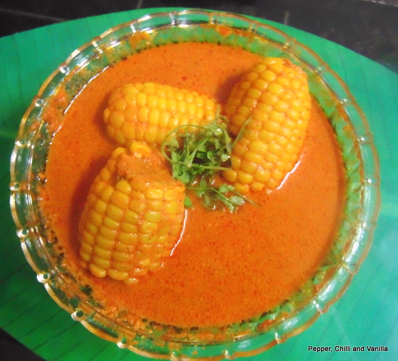 Corn on the cob in  Coconut milk gravy
