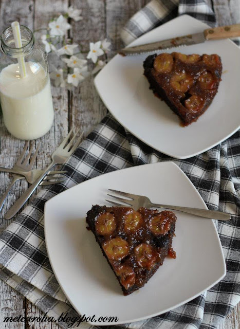 Chocolate Caramel Banana Upside Down Cake